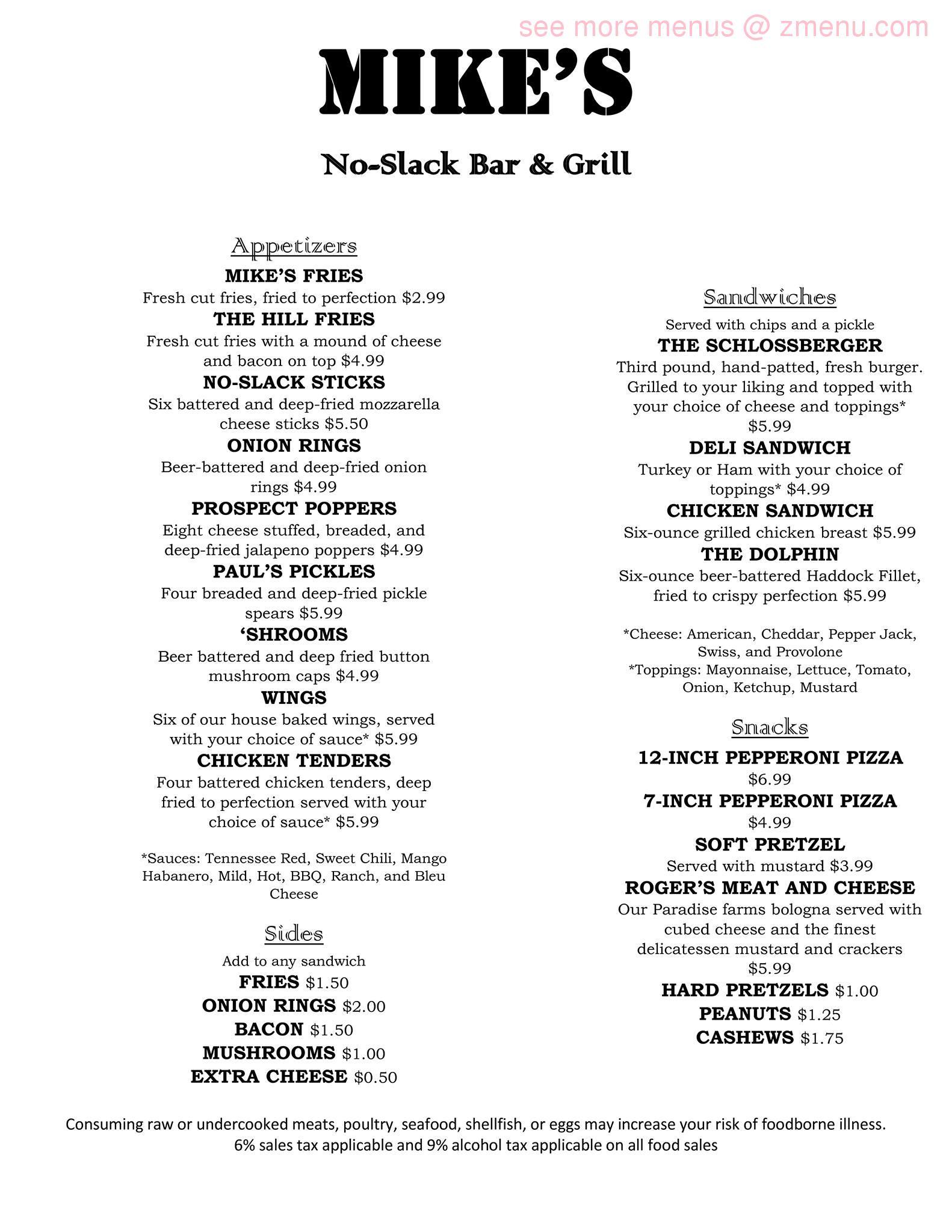 Online Menu Of Mikes Tavern Restaurant Hagerstown Maryland 21740 Zmenu