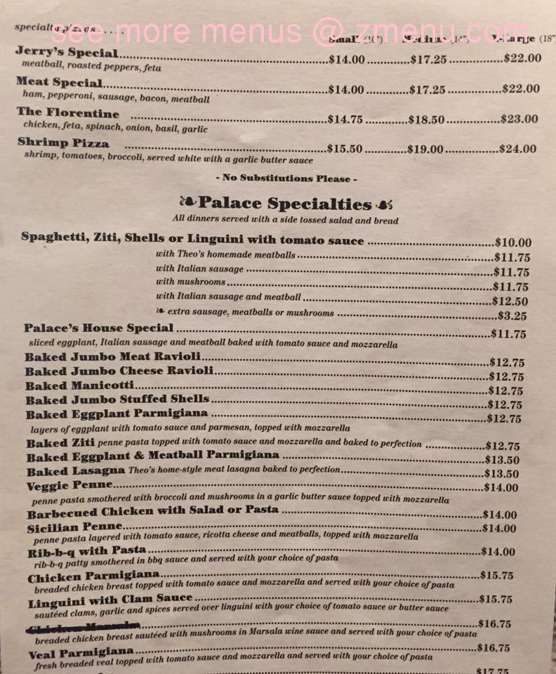 Online Menu Of Torrington Pizza Palace Restaurant