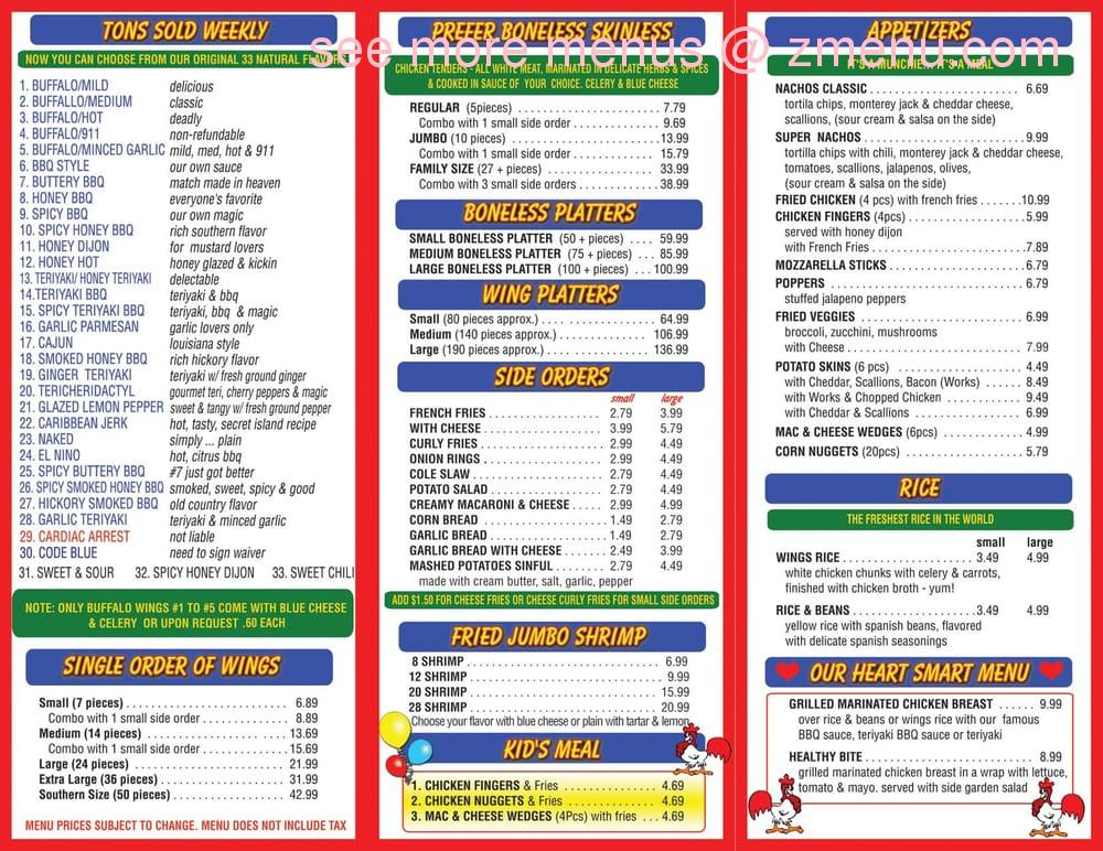Online Menu Of Southern Wings Express Restaurant West Haven