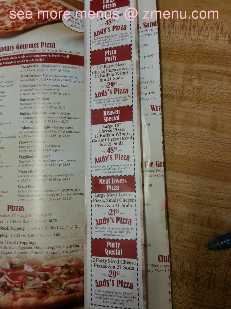 Online Menu Of Andys Pizza Restaurant West Haven Connecticut