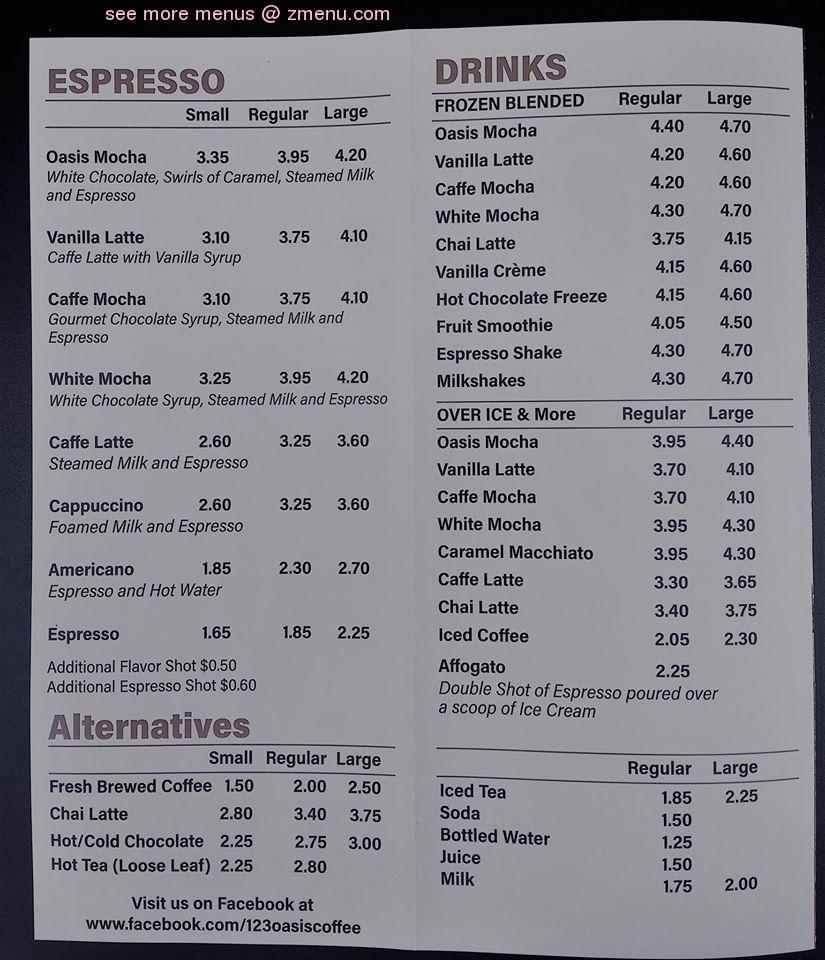 Online Menu of Oasis Coffee House Restaurant, Montezuma, Georgia, 31063 - Zmenu