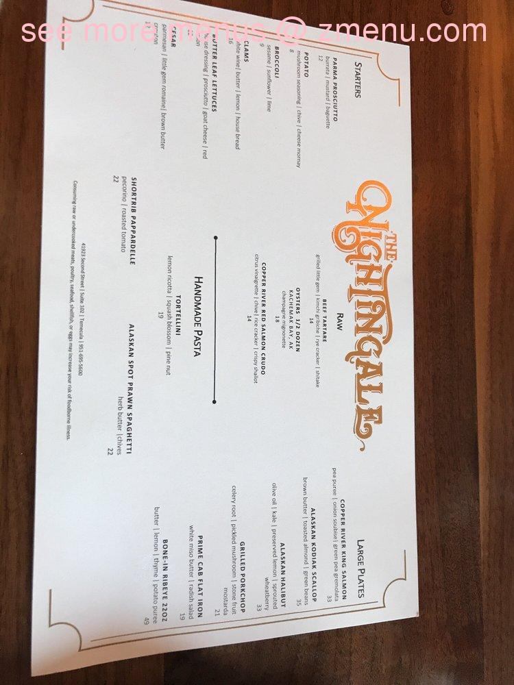 Online Menu of The Nightingale Restaurant, Temecula