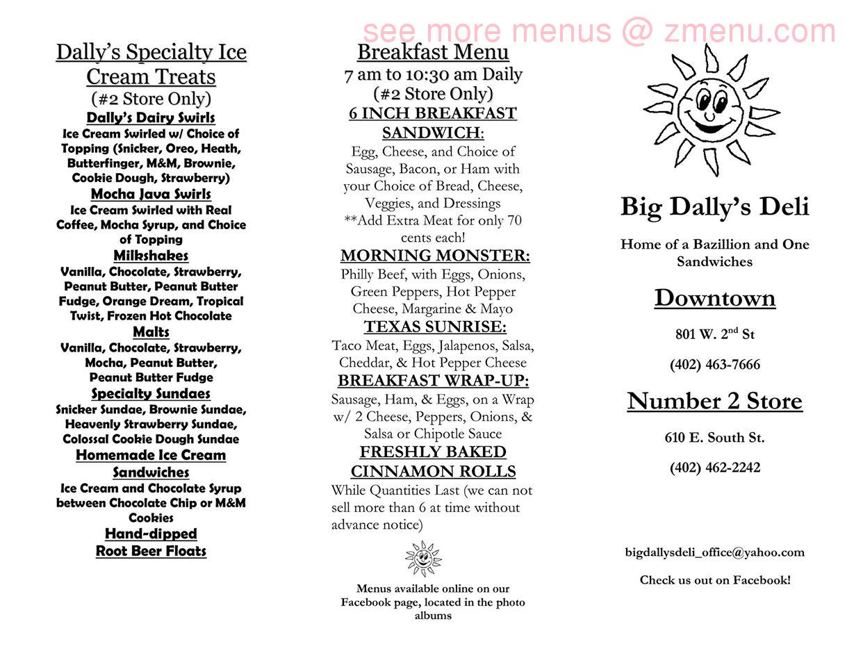 Online menu of big dallys deli restaurant hastings nebraska note sciox Image collections