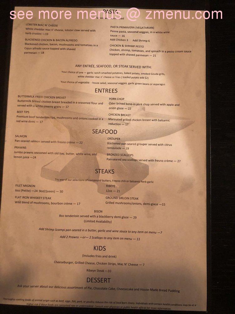 Online Menu of The Blacksmith Restaurant, Washington