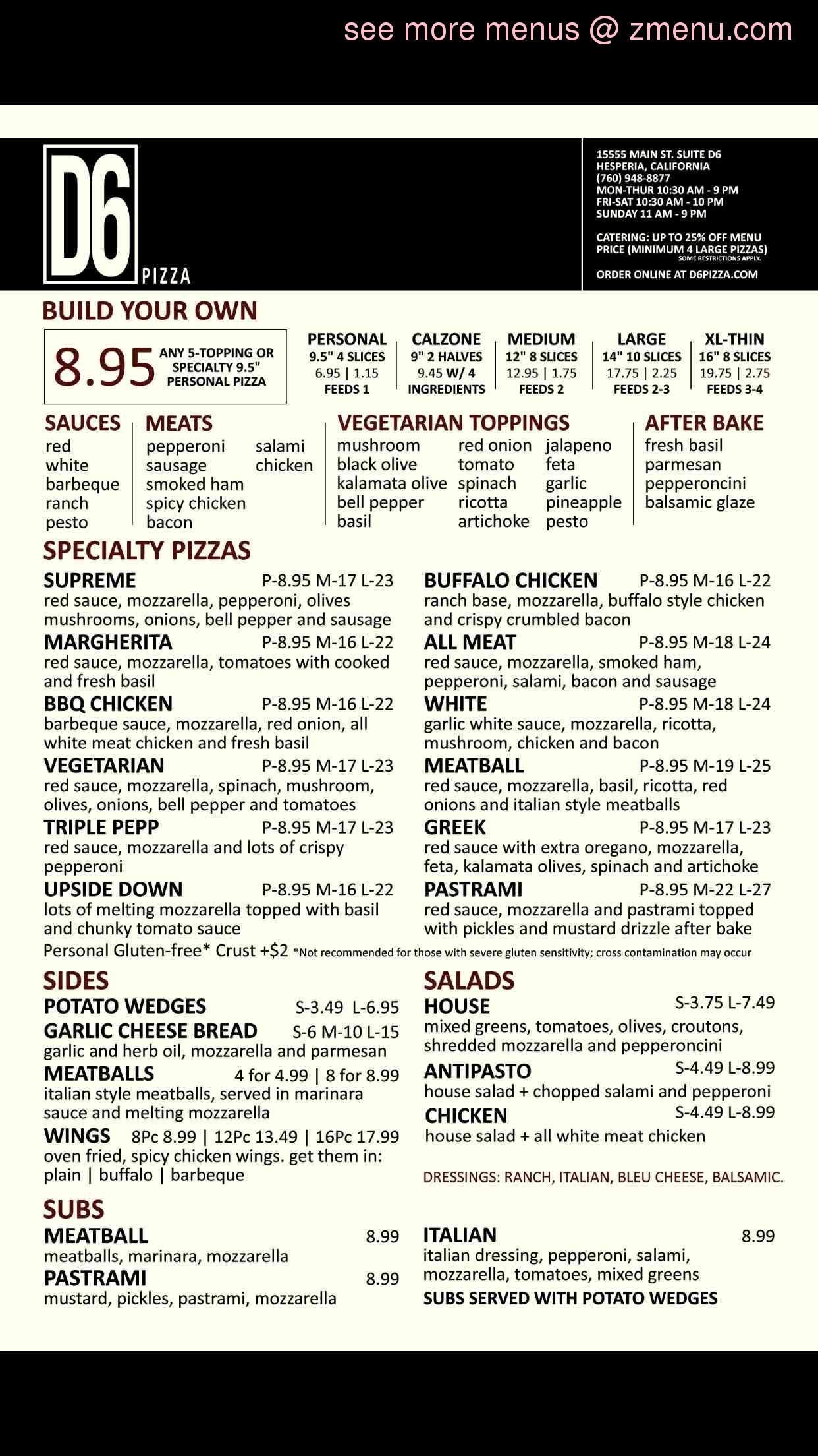 Online Menu Of D6 Pizza Restaurant Hesperia California 92345 Zmenu
