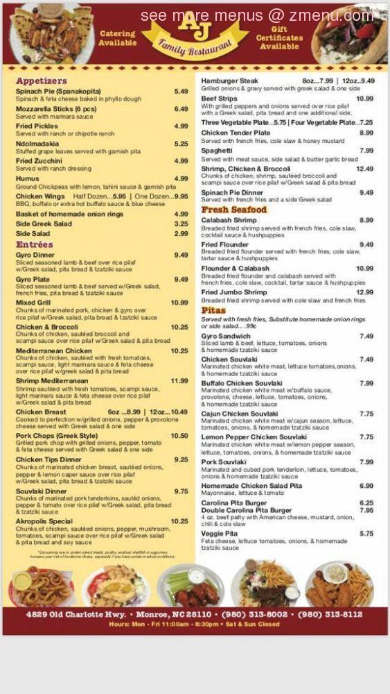 Online Menu Of Aj Family Restaurant Restaurant Monroe