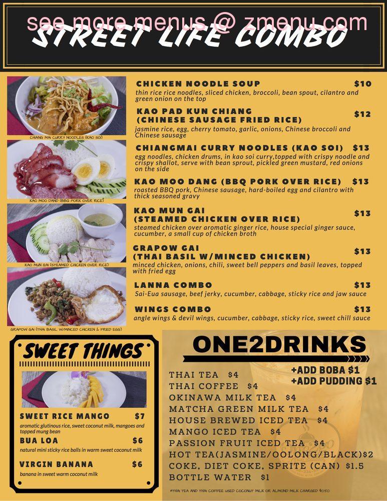Online Menu of One2Go Thai Kitchen Restaurant, Encinitas ...