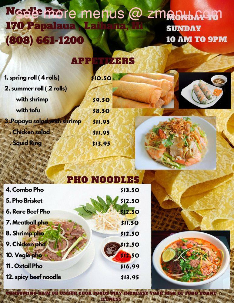Online Menu of Noodle Bar - Vietnamese Pho Restaurant, Lahaina