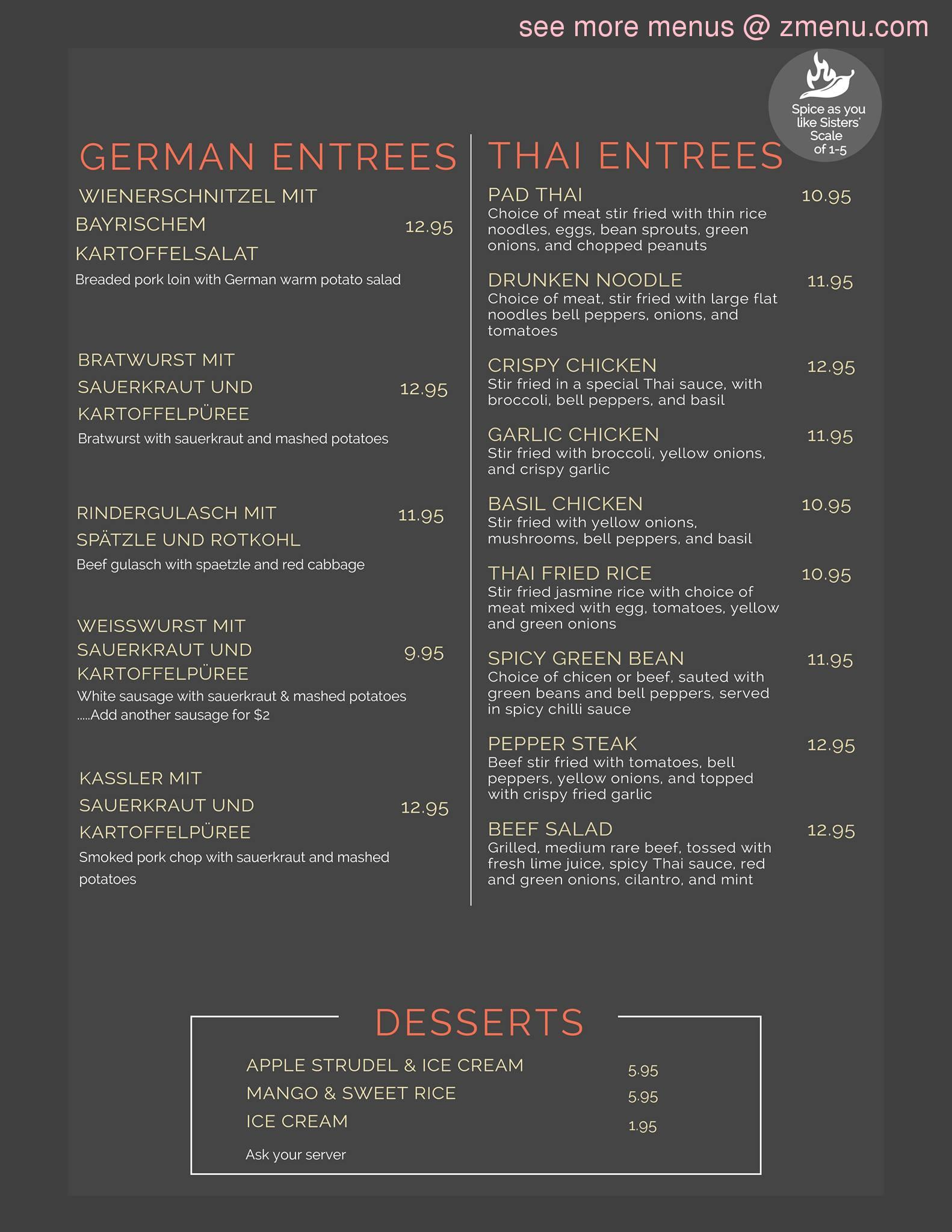 Sisters Thai And German Cafe Menu