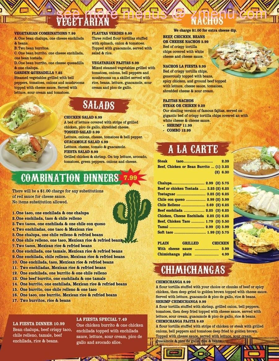 Menu For La Fiesta Mexican Restaurant