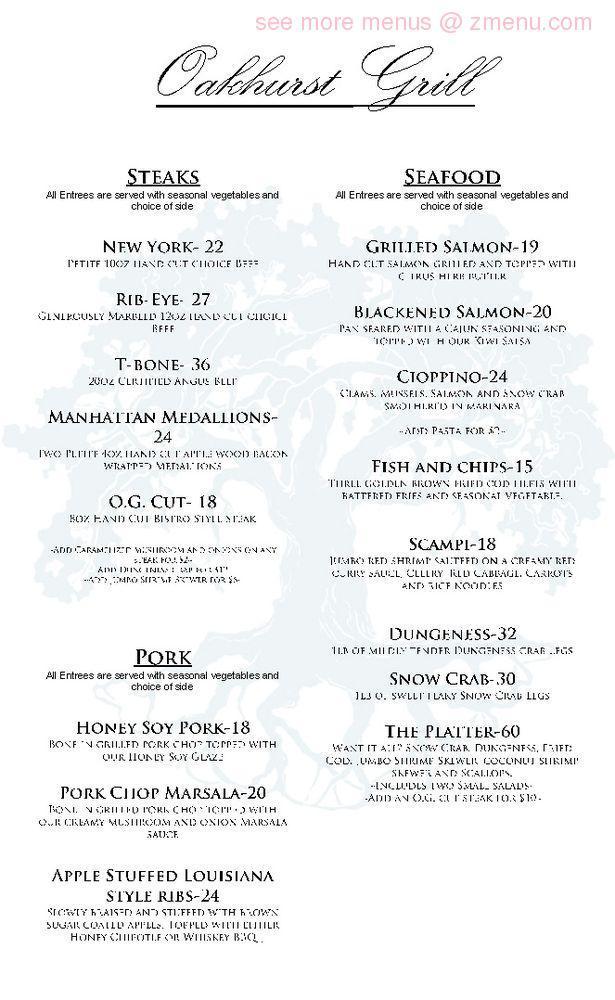Online Menu Of Oakhurst Grill Restaurant Oakhurst