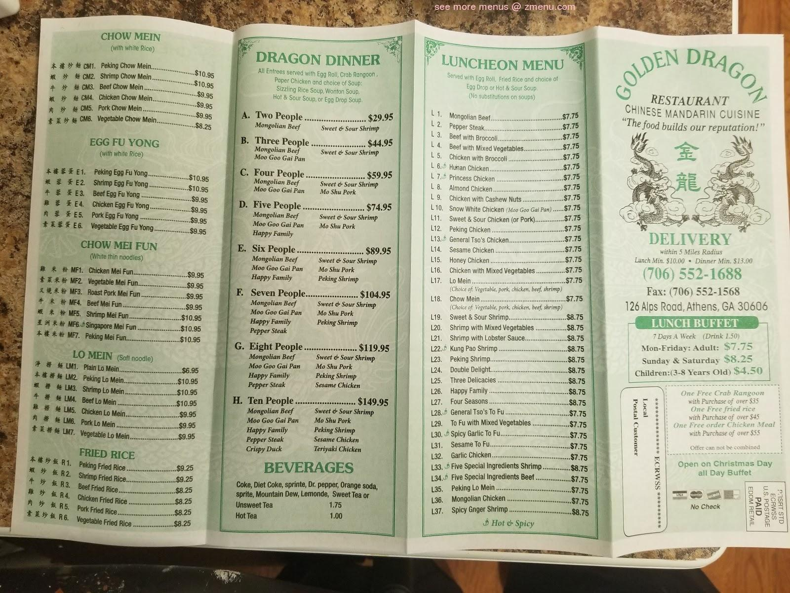 Golden dragon athens lunch menu steroid ointment for poison ivy