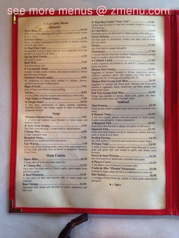 online menu of panita thai kitchen restaurant, atlanta, georgia