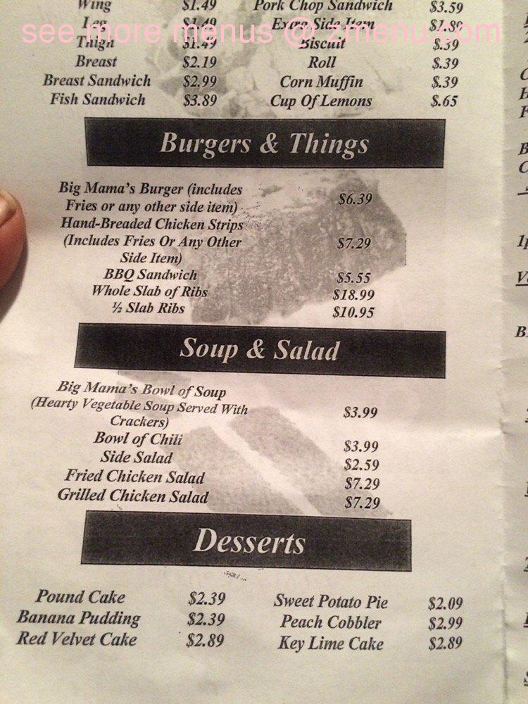 Online Menu Of Big Mamas Soul Food Restaurant Augusta Georgia 30909 Zmenu