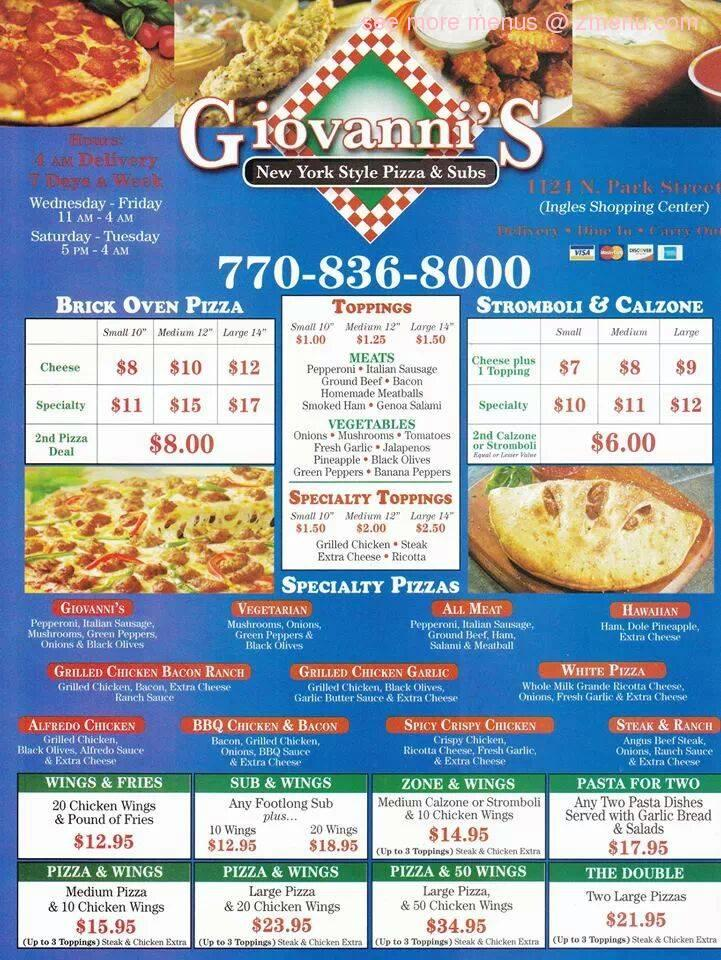 Online Menu of Giovanni's Pizza & Subs Restaurant ...