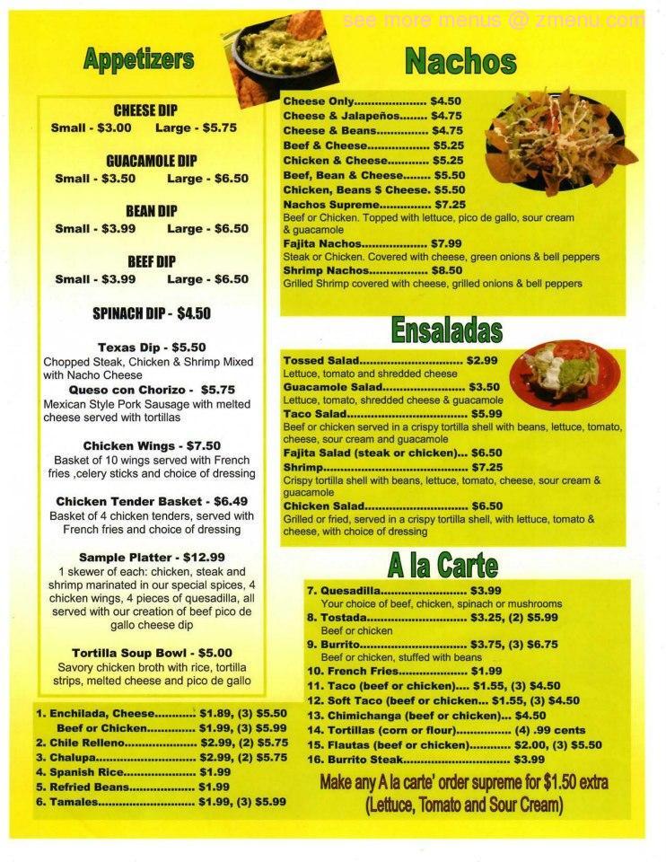 Online Menu Of Santana Mexican Retauran Restaurant Cartersville