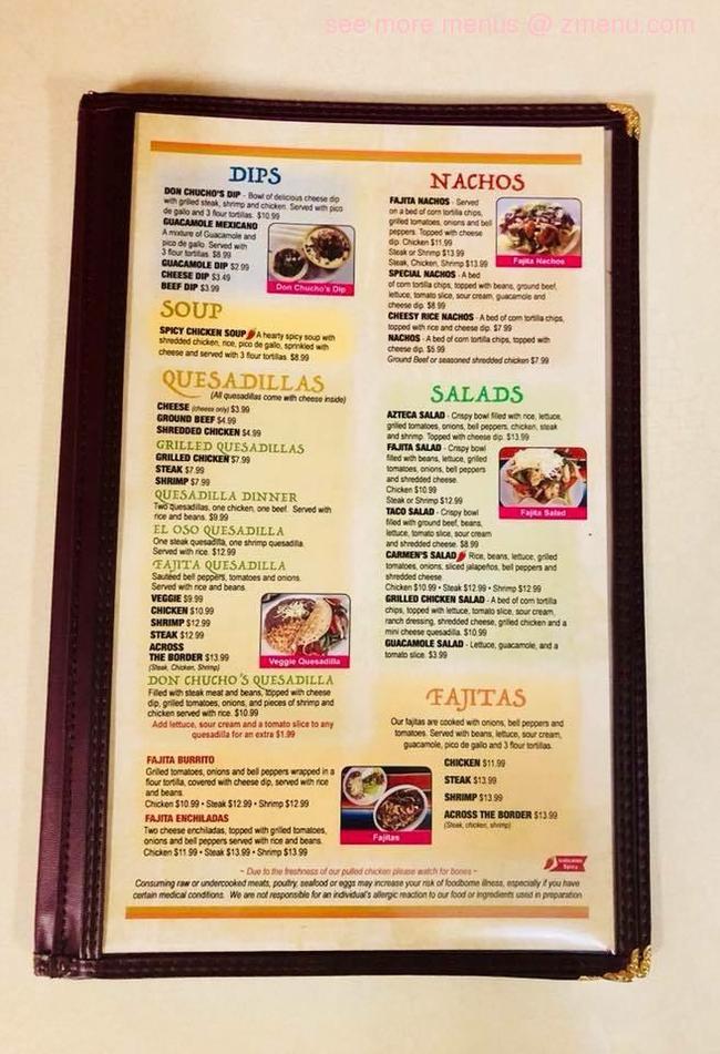 online menu of don chuchos mexican restaurant restaurant columbus georgia 31907  zmenu