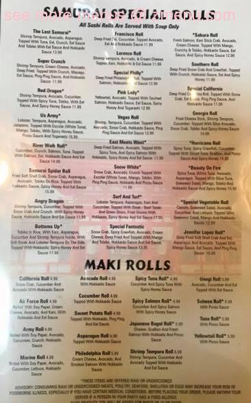 Samurai Japanese Restaurant Menu Prices