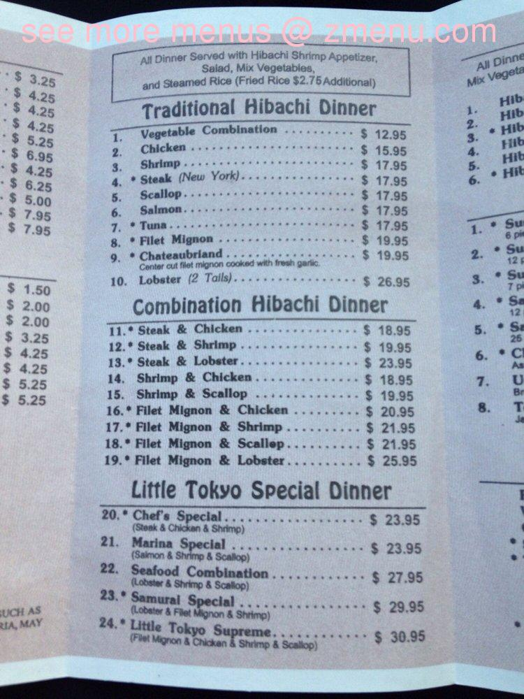 Online Menu Of Little Tokyo Steakhouse And Sushi