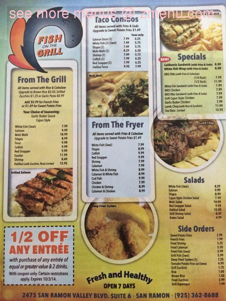 Online menu of fish on the grill restaurant san ramon for Fish grill menu