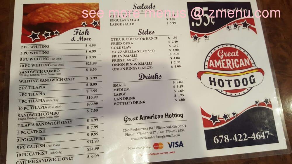 Great American Hot Dog House Menu