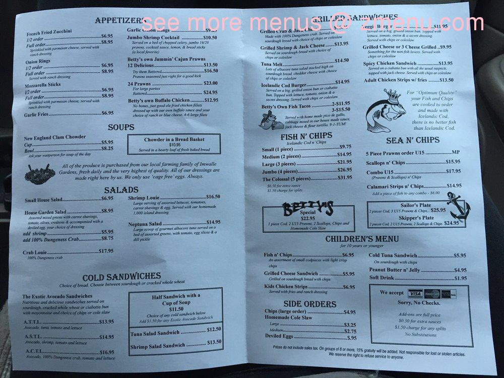 Online menu of betty 39 s fish chips restaurant santa rosa for Bettys fish and chips