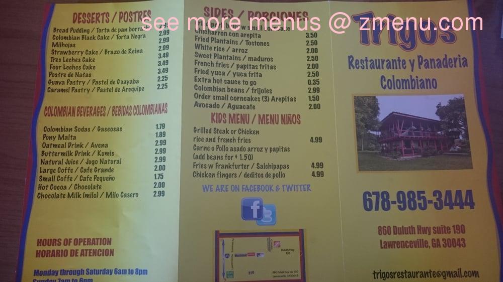Online Menu Of Trigos Colombian Restaurant Restaurant Lawrenceville