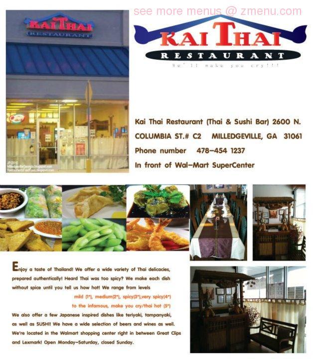 Online Menu Of Kai Thai Restaurant Restaurant Milledgeville