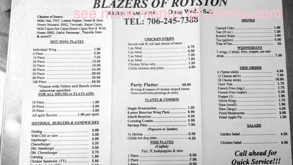 Online Menu of Blazers Restaurant, Royston, Georgia, 30662