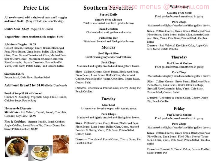 Online Menu Of Sarahs Country Cooking Restaurant