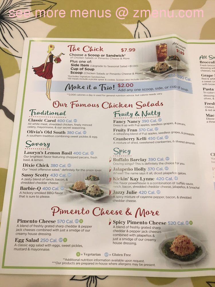 Online Menu Of Chicken Salad Chick Restaurant Valdosta Georgia