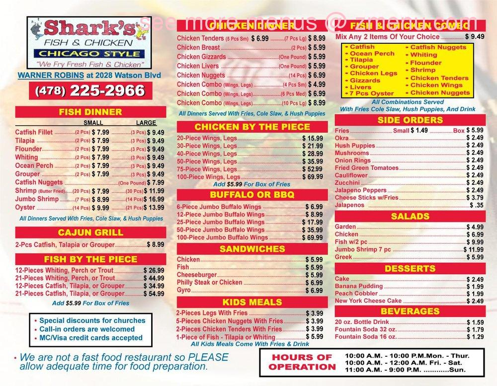 Online menu of sharks fish and chicken chicago style for Fish and chicken menu