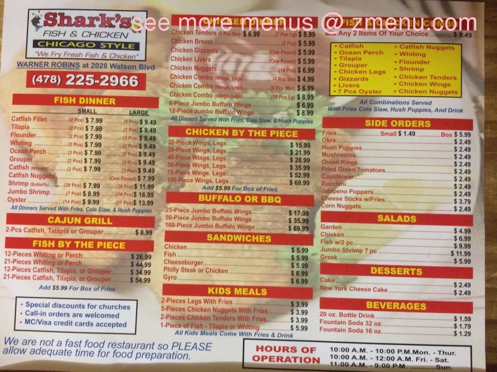 Online Menu of Sharks Fish and Chicken Chicago Style