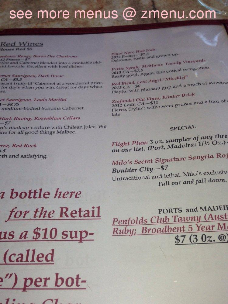 Note the menu prices may subject to change. & Online Menu of Milou0027s Cellar Restaurant Boulder City Nevada 89005 ...