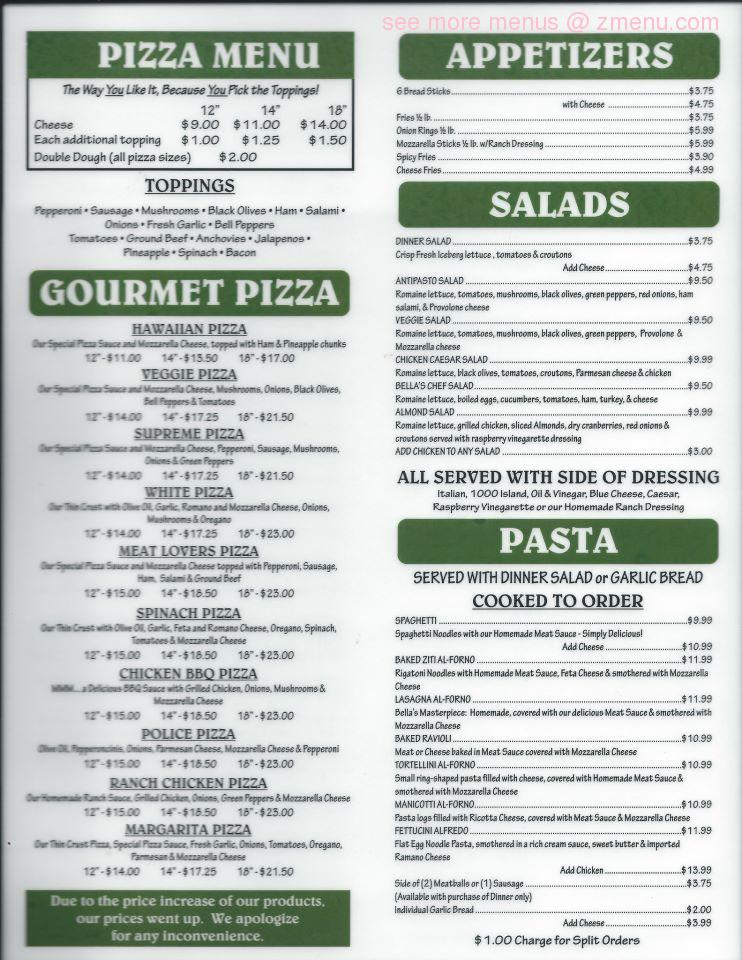 Magnificent Online Menu Of Bella Pizza Restaurant Mesquite Nevada Download Free Architecture Designs Scobabritishbridgeorg