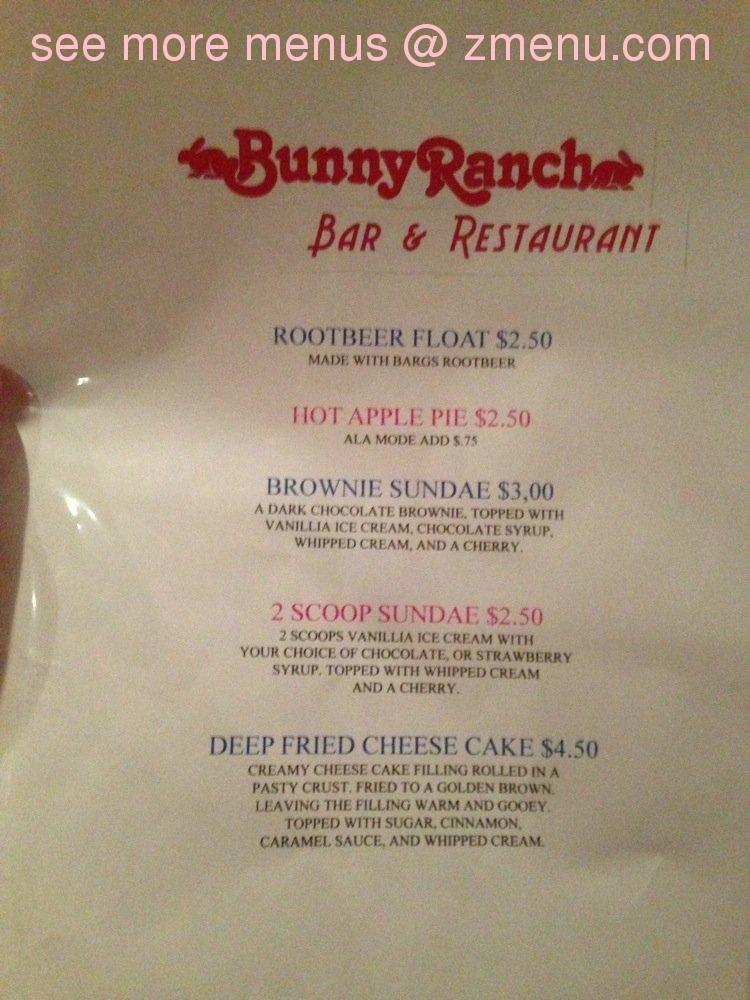 Online Menu Of Bunny Ranch Bar Restaurant Mound House