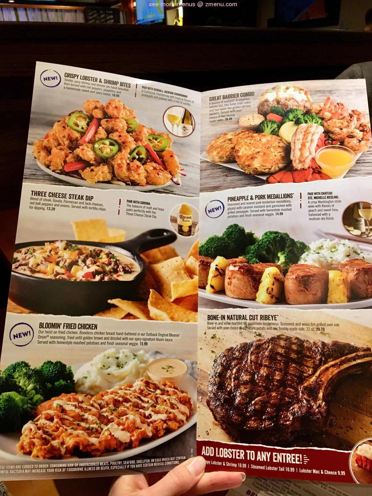 Online Menu Of Outback Steakhouse Restaurant Auburn Massachusetts Zmenu
