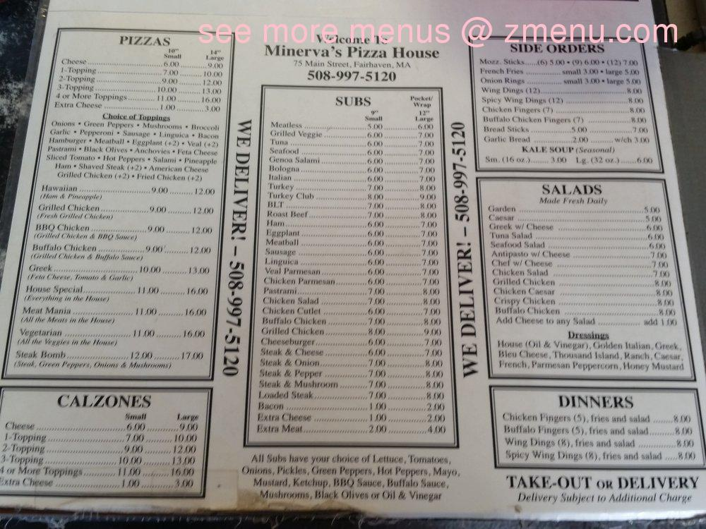 Online Menu Of Minerva Pizza House Restaurant Fairhaven