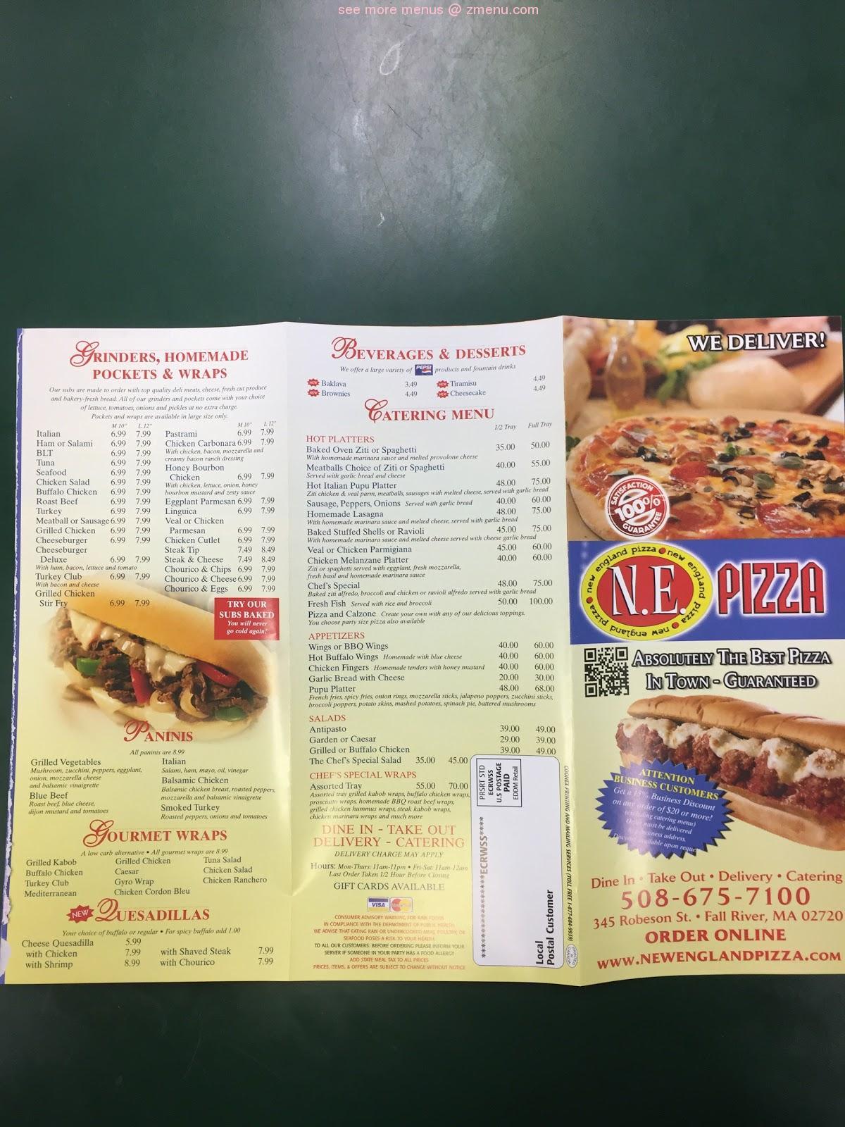 Online Menu of New England Pizza Restaurant, Fall River