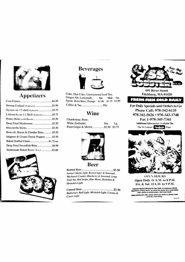 Online Menu of Ss Lobster Ltd Restaurant, Fitchburg, Massachusetts, 01420 - Zmenu