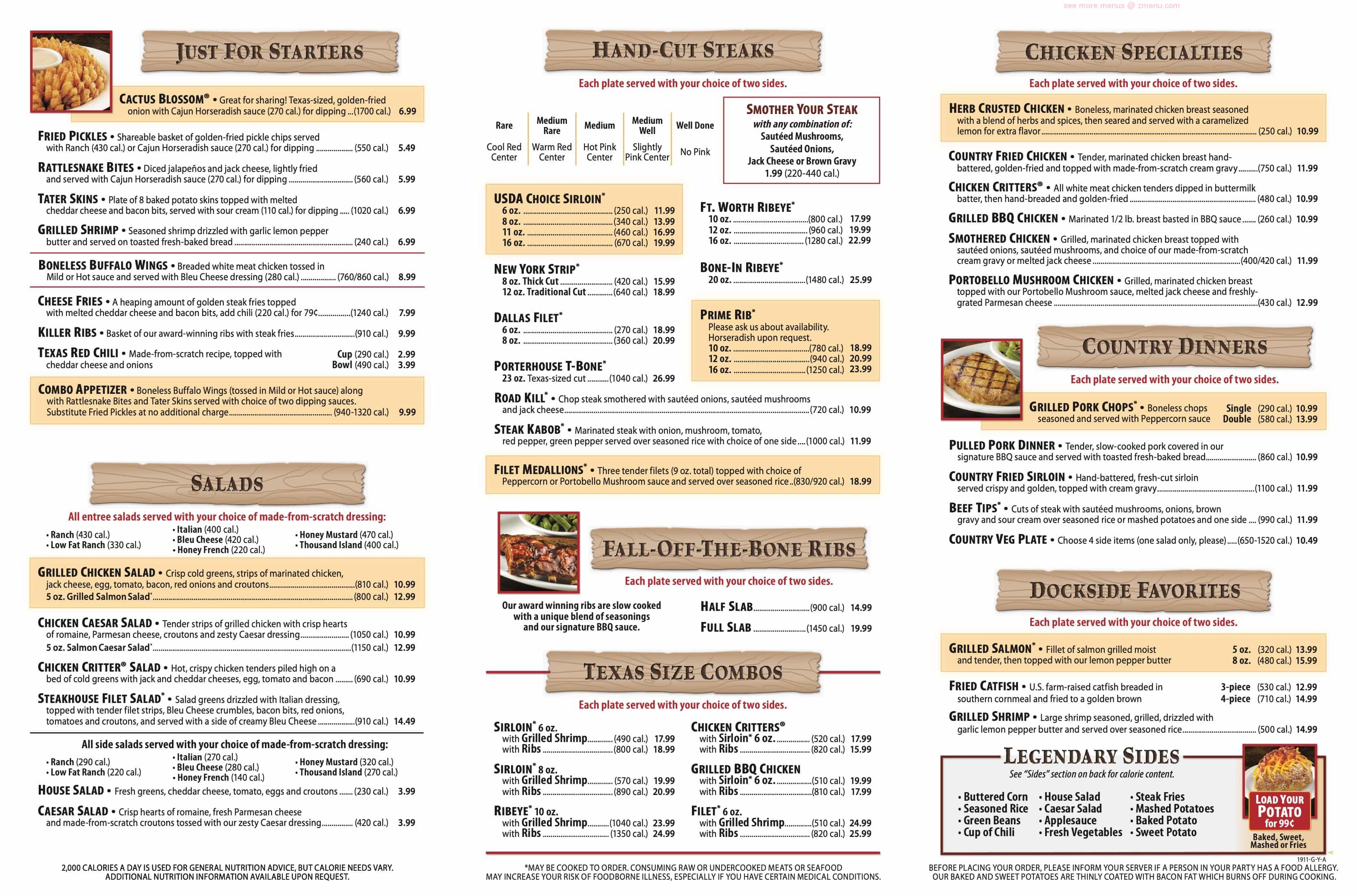 Online Menu of Texas Roadhouse Restaurant, Owensboro, Kentucky