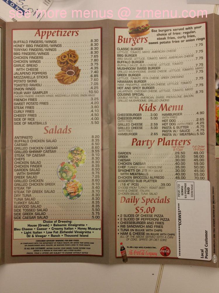 Online Menu Of Cousins Pizzeria Restaurant Mansfield Massachusetts 02048 Zmenu