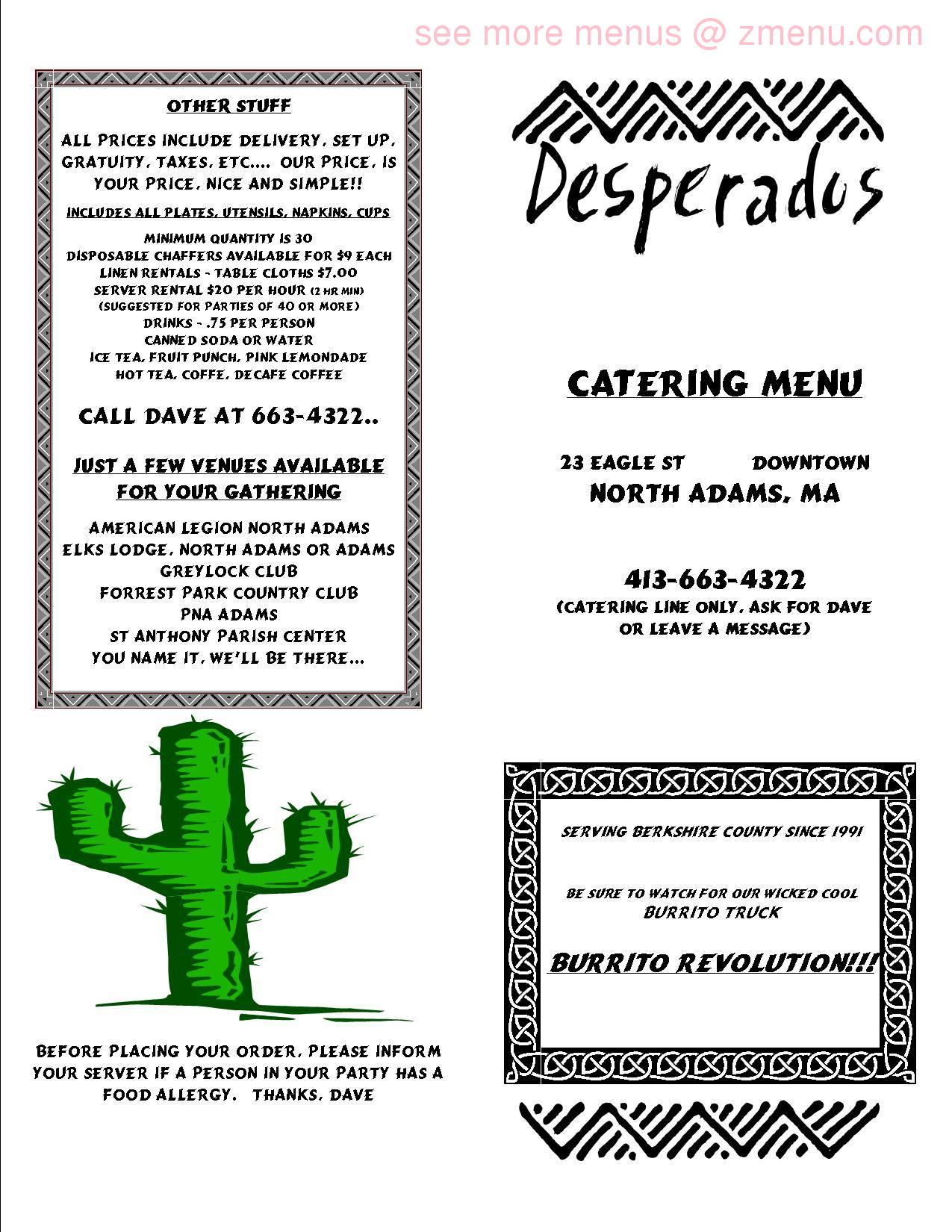 Online Menu Of Desperados Restaurant North Adams Massachusetts 01247 Zmenu