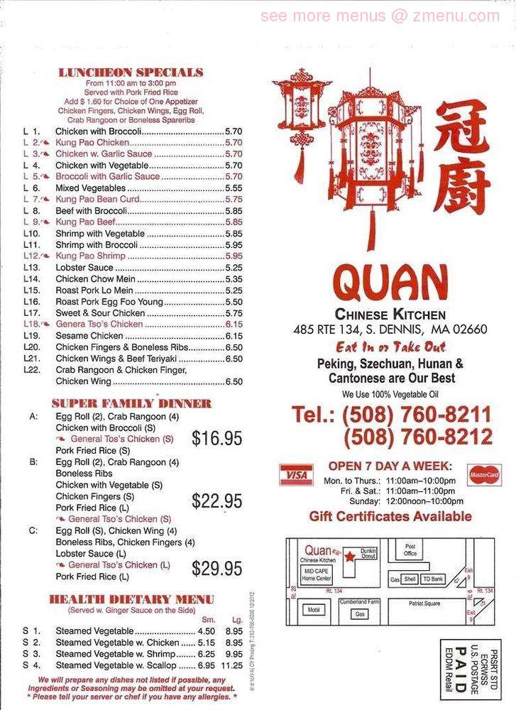 Online Menu Of Quan Chinese Kitchen Restaurant South Dennis Massachusetts 02660 Zmenu