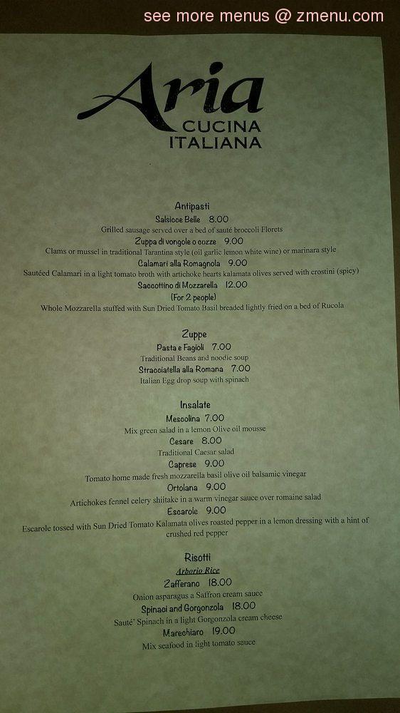 Online Menu Of Aria Cucina Italiana Restaurant Ormond Beach Florida 32174 Zmenu