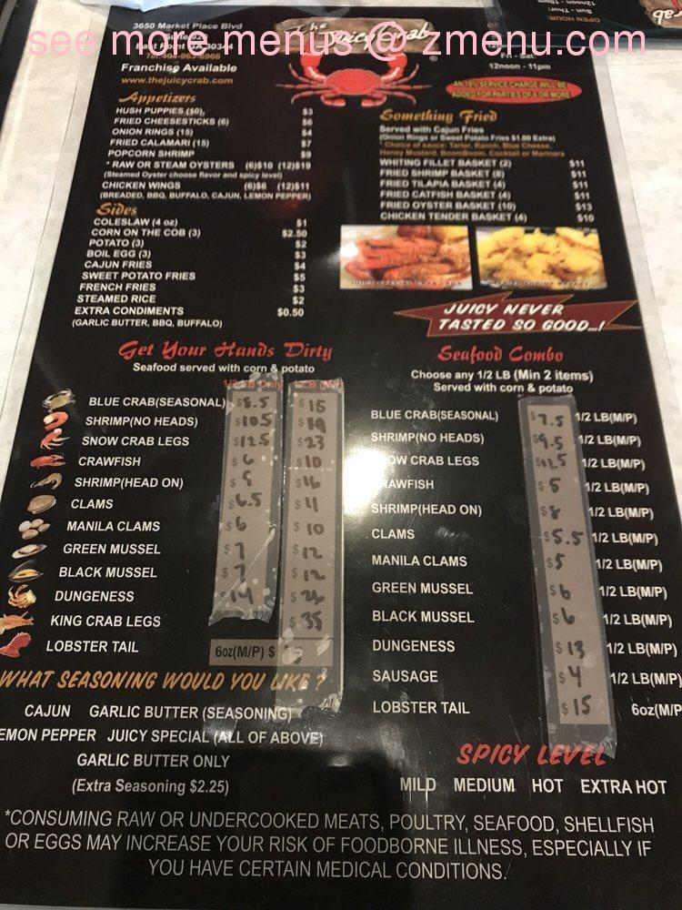 online menu of the juicy crab restaurant east point