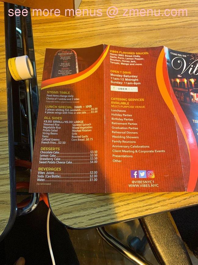 Online Menu of Vibes Restaurant, Queens, New York, 11434 - Zmenu