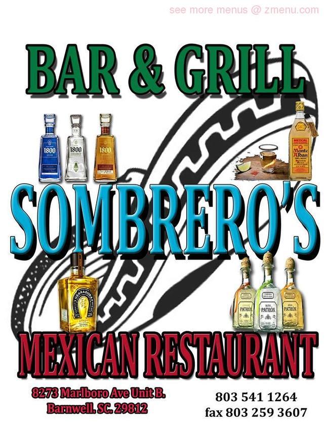 Online Menu of Sombreros Mexican Restaurant Restaurant ...