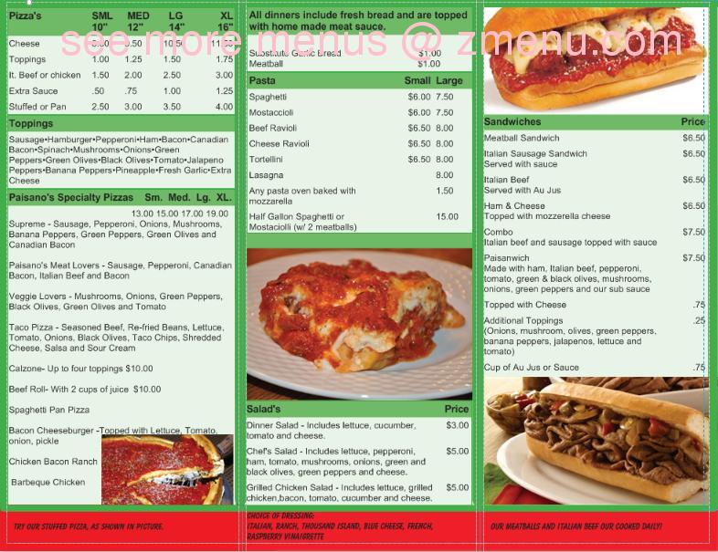 Paisanos Near Me >> Online Menu Of Paisanos Ristorante Restaurant Princeton Illinois