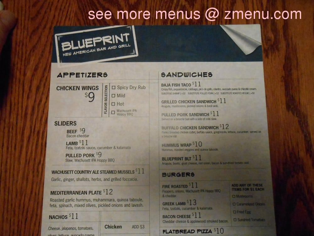 Online menu of blueprint american bar and grille restaurant note malvernweather Gallery